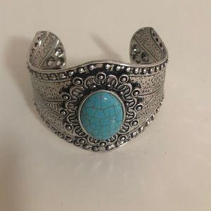 Silver Boho Tribal Cuff Statement Bracelet